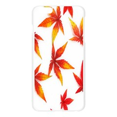 Colorful Autumn Leaves On White Background Apple Seamless iPhone 6 Plus/6S Plus Case (Transparent)