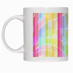 Colorful Abstract Stripes Circles And Waves Wallpaper Background White Mugs