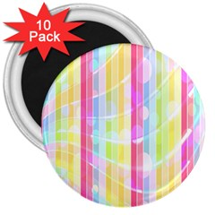 Colorful Abstract Stripes Circles And Waves Wallpaper Background 3  Magnets (10 Pack)