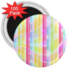 Colorful Abstract Stripes Circles And Waves Wallpaper Background 3  Magnets (100 pack)