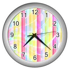 Colorful Abstract Stripes Circles And Waves Wallpaper Background Wall Clocks (silver)