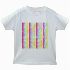 Colorful Abstract Stripes Circles And Waves Wallpaper Background Kids White T Shirts