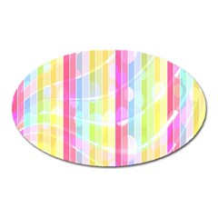 Colorful Abstract Stripes Circles And Waves Wallpaper Background Oval Magnet