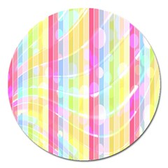Colorful Abstract Stripes Circles And Waves Wallpaper Background Magnet 5  (round)
