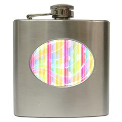 Colorful Abstract Stripes Circles And Waves Wallpaper Background Hip Flask (6 Oz)