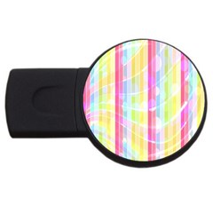 Colorful Abstract Stripes Circles And Waves Wallpaper Background USB Flash Drive Round (2 GB)