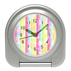 Colorful Abstract Stripes Circles And Waves Wallpaper Background Travel Alarm Clocks