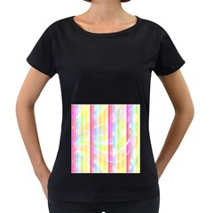 Colorful Abstract Stripes Circles And Waves Wallpaper Background Women s Loose Fit T Shirt (black)