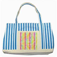 Colorful Abstract Stripes Circles And Waves Wallpaper Background Striped Blue Tote Bag