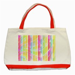 Colorful Abstract Stripes Circles And Waves Wallpaper Background Classic Tote Bag (Red)