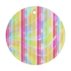 Colorful Abstract Stripes Circles And Waves Wallpaper Background Round Ornament (Two Sides)