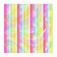 Colorful Abstract Stripes Circles And Waves Wallpaper Background Medium Glasses Cloth (2 Side)