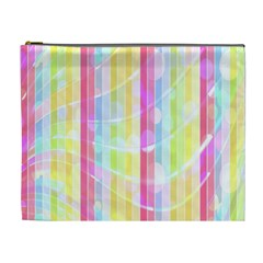 Colorful Abstract Stripes Circles And Waves Wallpaper Background Cosmetic Bag (xl)