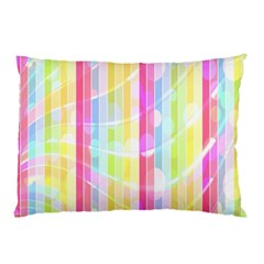 Colorful Abstract Stripes Circles And Waves Wallpaper Background Pillow Case (Two Sides)