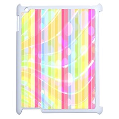 Colorful Abstract Stripes Circles And Waves Wallpaper Background Apple iPad 2 Case (White)
