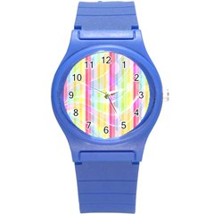 Colorful Abstract Stripes Circles And Waves Wallpaper Background Round Plastic Sport Watch (S)