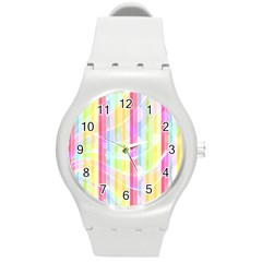 Colorful Abstract Stripes Circles And Waves Wallpaper Background Round Plastic Sport Watch (M)