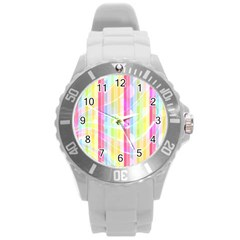 Colorful Abstract Stripes Circles And Waves Wallpaper Background Round Plastic Sport Watch (l)