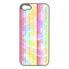 Colorful Abstract Stripes Circles And Waves Wallpaper Background Apple iPhone 5 Case (Silver)