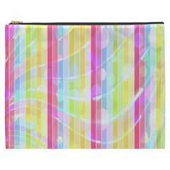 Colorful Abstract Stripes Circles And Waves Wallpaper Background Cosmetic Bag (XXXL)