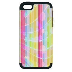 Colorful Abstract Stripes Circles And Waves Wallpaper Background Apple iPhone 5 Hardshell Case (PC+Silicone)