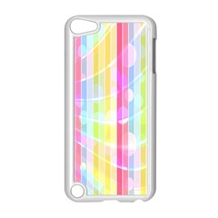 Colorful Abstract Stripes Circles And Waves Wallpaper Background Apple Ipod Touch 5 Case (white)