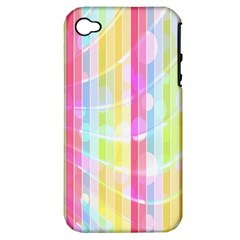 Colorful Abstract Stripes Circles And Waves Wallpaper Background Apple iPhone 4/4S Hardshell Case (PC+Silicone)