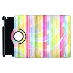Colorful Abstract Stripes Circles And Waves Wallpaper Background Apple iPad 3/4 Flip 360 Case