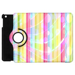 Colorful Abstract Stripes Circles And Waves Wallpaper Background Apple Ipad Mini Flip 360 Case
