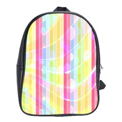 Colorful Abstract Stripes Circles And Waves Wallpaper Background School Bags (XL)