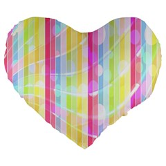 Colorful Abstract Stripes Circles And Waves Wallpaper Background Large 19  Premium Heart Shape Cushions