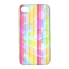 Colorful Abstract Stripes Circles And Waves Wallpaper Background Apple iPhone 4/4S Hardshell Case with Stand