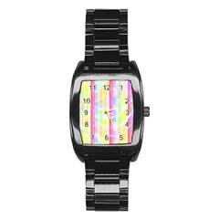 Colorful Abstract Stripes Circles And Waves Wallpaper Background Stainless Steel Barrel Watch