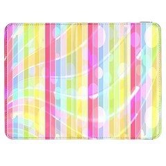 Colorful Abstract Stripes Circles And Waves Wallpaper Background Samsung Galaxy Tab 7  P1000 Flip Case