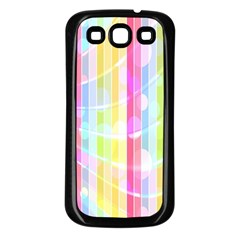 Colorful Abstract Stripes Circles And Waves Wallpaper Background Samsung Galaxy S3 Back Case (Black)