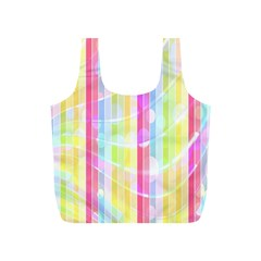 Colorful Abstract Stripes Circles And Waves Wallpaper Background Full Print Recycle Bags (S)