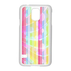 Colorful Abstract Stripes Circles And Waves Wallpaper Background Samsung Galaxy S5 Case (White)