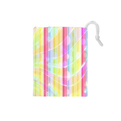 Colorful Abstract Stripes Circles And Waves Wallpaper Background Drawstring Pouches (Small)