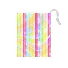 Colorful Abstract Stripes Circles And Waves Wallpaper Background Drawstring Pouches (Medium)