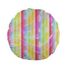 Colorful Abstract Stripes Circles And Waves Wallpaper Background Standard 15  Premium Flano Round Cushions