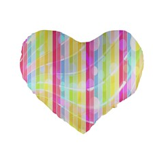 Colorful Abstract Stripes Circles And Waves Wallpaper Background Standard 16  Premium Flano Heart Shape Cushions