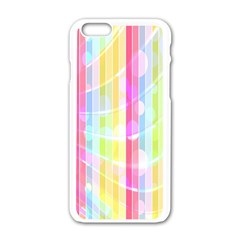Colorful Abstract Stripes Circles And Waves Wallpaper Background Apple iPhone 6/6S White Enamel Case