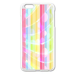 Colorful Abstract Stripes Circles And Waves Wallpaper Background Apple Iphone 6 Plus/6s Plus Enamel White Case