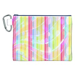 Colorful Abstract Stripes Circles And Waves Wallpaper Background Canvas Cosmetic Bag (XXL)