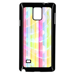 Colorful Abstract Stripes Circles And Waves Wallpaper Background Samsung Galaxy Note 4 Case (Black)