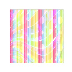 Colorful Abstract Stripes Circles And Waves Wallpaper Background Small Satin Scarf (Square)