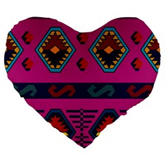 Abstract A Colorful Modern Illustration Large 19  Premium Flano Heart Shape Cushions