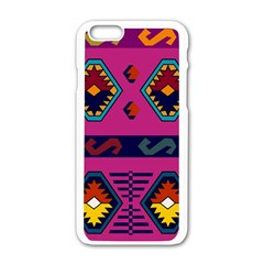 Abstract A Colorful Modern Illustration Apple iPhone 6/6S White Enamel Case