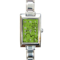 Abstract Green Background Natural Motive Rectangle Italian Charm Watch
