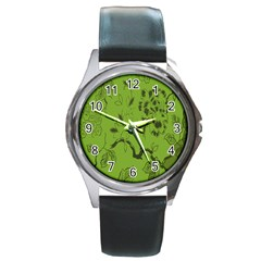 Abstract Green Background Natural Motive Round Metal Watch